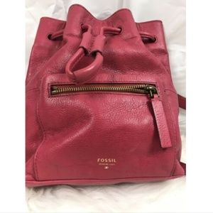 Fossil RED Pebbled Leather Mini Backpack Purse Bag